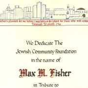 Max Fisher Jewish Community Foundation Dedication