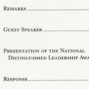 1994 National Distinguished Leadership Award ceremony program showing Peter Goden and Mary Fisher as guest speakers.