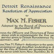 Detroit Renaissance Resolution of Appreciation Award