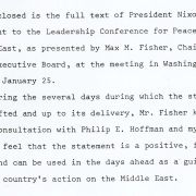 President Nixon's statement to the Leadership Conference for Peace in the Middle East in 1970, as presented by Max M. Fisher.
