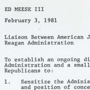 Notes to Ed Meese III: Liaison Between American Jewish Community and the Reagan Administration.