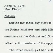 Max M. Fisher's typed White House comments for his April 9, 1975 meeting with President Ford about the Israeli Reassessment.