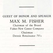 Notes and text for Max Fisher's speech to the Detroit Renaissance meeting.
