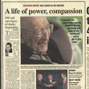 "The front page of The Detroit News on September 26, 2003 featured an exclusive report about Max Fisher's $10 million gift to the Detroit Symphony Orchestra and presented a brief sketch of a lifelong philanthropist they called ""a giant in all the word implies."" ""There will never be another Max Fisher,"" added former Michigan Governor John Engler."