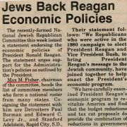 A 1981 article in The Detroit Jewish News quoted Max Fisher about Jewish support of President Reagan.