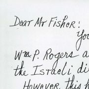A handwritten letter to Max M. Fisher from an L.A. Times reader thanking him for his role in negotiating the Rogers Plan.