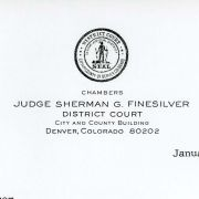 Correspondence between Max M. Fisher and Judge Sherman C. Finesilver concerning the Rogers Plan.