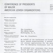 Letter to President Nixon from the Presidents of the Jewish Conference