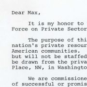 President Reagan's Task Force Welcoming Letter