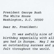 A 1989 letter of gratitude to President George H.W. Bush from Max M. Fisher also touches on points of Middle Eastern diplomacy.