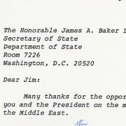1990 letter from Max M. Fisher to Secretary of State Jim Baker concerning Middle East peace policy.