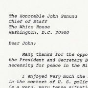 Letter from Max M. Fisher to White House Chief of Staff John Sununu concerning U.S. policy toward Jerusalem.