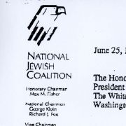 Letter to President George H.W. Bush the Chairmen of the National Jewish Coalition.