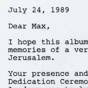 Letter to Max M. Fisher after Israeli Arts & Science Academy cornerstone dedication ceremony.
