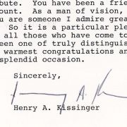 Congratulatory letter from Henry Kissinger to Max Fisher on his receiving the National Distinguished Leadership Award in 1994.