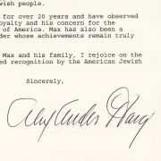 Congratulatory letter from Alexander Haig to Max Fisher on his receiving the National Distinguished Leadership Award in 1994.