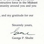 Congratulatory letter from George P. Shultz to Max Fisher on his receiving the National Distinguished Leadership Award in 1994.