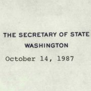 A personal letter from Secretary of State George Shultz.