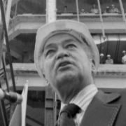 Coleman Young amid construction of Detroit's Renaissance Center