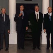 A photograph of the then four living presidents, signed by each, presented to Max Fisher in 1998, along with a personal letter from Gerald Ford.