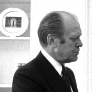 Max M. Fisher met with President Gerald Ford and Secretary of State Henry Kissinger in the Oval Office on April 9, 1975 to discuss the reassessment of US policy.