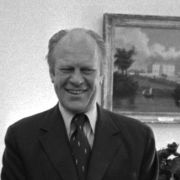 Max M. Fisher met with President Gerald Ford and Secretary of State Henry Kissinger in the Oval Office on April 9, 1975 to discuss the reassessment of US policy