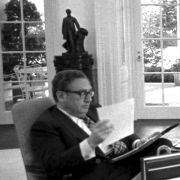 Max M. Fisher met with President Gerald Ford and Secretary of State Henry Kissinger in the Oval Office on April 9, 1975 to discuss the reassessment of US policy toward Israel.