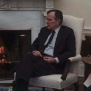Max Fisher in a meeting with President George H. W. Bush and staff in the White House.