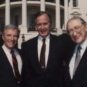 "Max Fisher with Secretary of Commerce Robert Mosbacher and President George H. W. Bush outside the White House. Signed, ""To Max - I love this shot. Your friend - George Bush"""
