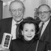 Left to Right: Max Fisher, Marjorie Fisher, Robert Naftaly, and Al Taubman at the 1997 Fisher Meeting.