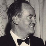 A photo of Max Fisher with Hubert Humphrey, signed by Humphrey.