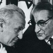 Max Fisher with future Israeli President Ephraim Katzir and Louis Pincus at the Founding Assembly for the Reconstituted JAFI in Jerusalem in 1971.