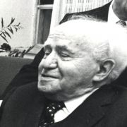 Max Fisher with former Israeli Prime Minister David Ben-Gurion and Rabbi Shlomo Goren at the Founding Assembly of the RAFI in June 1971.
