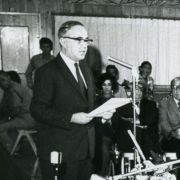 Louis Pincus addressing the Founding Assembly of the Reconstituted JAFI in June 1971.