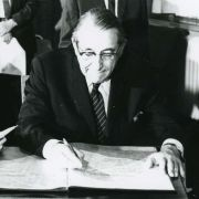 Max Fisher signing the Agreement for the Reconstitution of the newly Reconstituted Jewish Agency for Israel