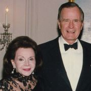 A signed photograph from President George H. W. Bush and his wife Barbara to Max M. Fisher and his wife Marjorie.