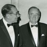 Max M. Fisher with Vice President Hubert Humphrey and others.