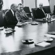 Max M. Fisher in a meeting with President Richard Nixon and others during the Rogers Plan negotiations.