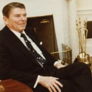 Max Fisher and President Ronald Reagan in the oval office.