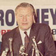 Max M. Fisher looks on as Nelson A. Rockefeller speaks at a presidential campaign fundraising event for George Romney in Detroit.