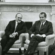 Max Fisher meeting with Richard Nixon and other leaders, including John Ehrlichman, William Rogers, Rabbi Hershel Schacter, and William Wxler, in the White House in 1970.