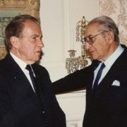 Max Fisher and Richard Nixon at Fisher's home in Detroit.