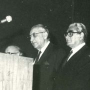 Max Fisher with Leon Dulzin, Joseph Sternstein, Charlotte Jacobson, and Ephraim Evron at the American Assembly for Zionism and Israel in 1981.