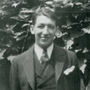 "Fisher outside of his fraternity house in Columbus, Ohio, 1929. Because he was Jewish, Fisher was barred from many fraternities but joined Alpha Epsilon chapter of Phi Beta Delta, a nonsectarian fraternity whose members were primarily Jewish. It was his first exposure to Jews, but he was the only rural boy among his new urban fraternity brothers. Says Fisher: ""They had a style I didn't have. It was hard for me to get adjusted."""
