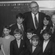 Max Fisher poses with his grandchildren at the dedication ceremony of the Max M. Fisher building, the new headquarters of the Jewish Federation of Metropolitan Detroit in 1992.
