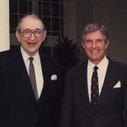 Max Fisher with Secretary of State Robert Mosbacher at the White House in 1989.