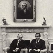 Max Fisher meeting with President Nixon and staff during the Roger's Plan controversy.