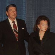 A commemorative portrait of Max Fisher with President Reagan and Marjorie Fisher at Max's 80th birthday celebration.