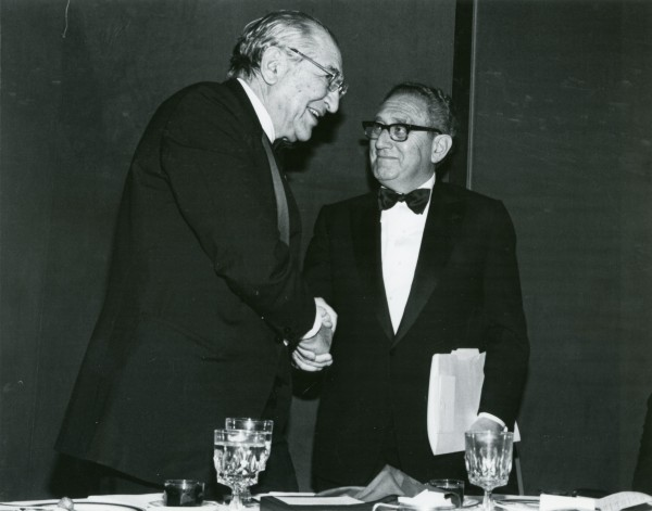 Henry Kissinger congratulates Max M. Fisher for winning the Stephen S. Wise Award from the American Jewish Congress.