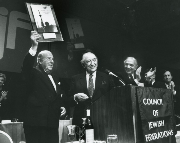 Max M. Fisher presents Human Rights Award to former Secretary of State George Shultz.